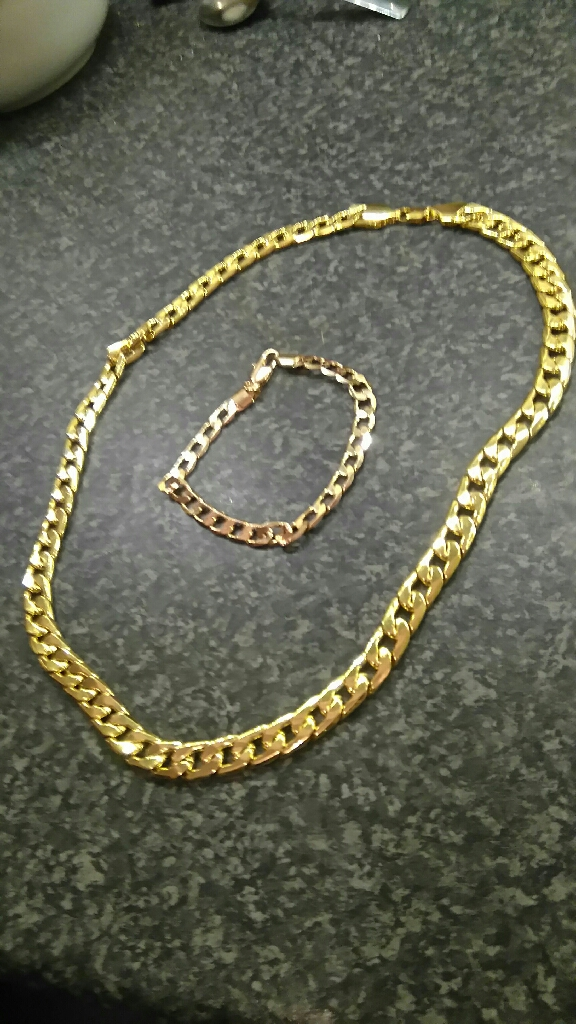 Gold plated mens thick curb chain and ladies thick curb bracelet