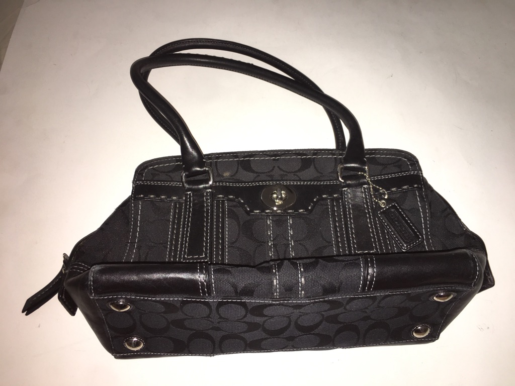 Coach Black Signature Turnlock Tote Bag
