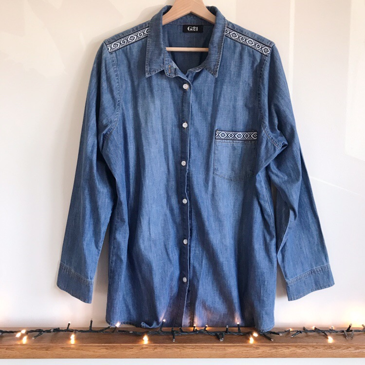 George Mid-Wash Denim Shirt with Aztec Embroidery