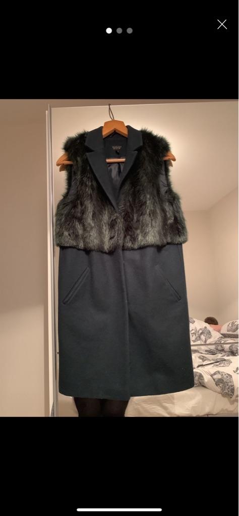 Green faux fur longline coat