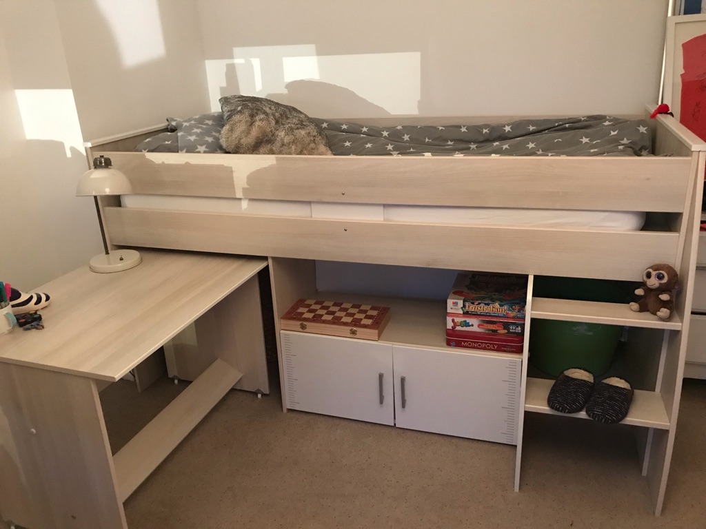 2x Cabin bed with desk and mattress