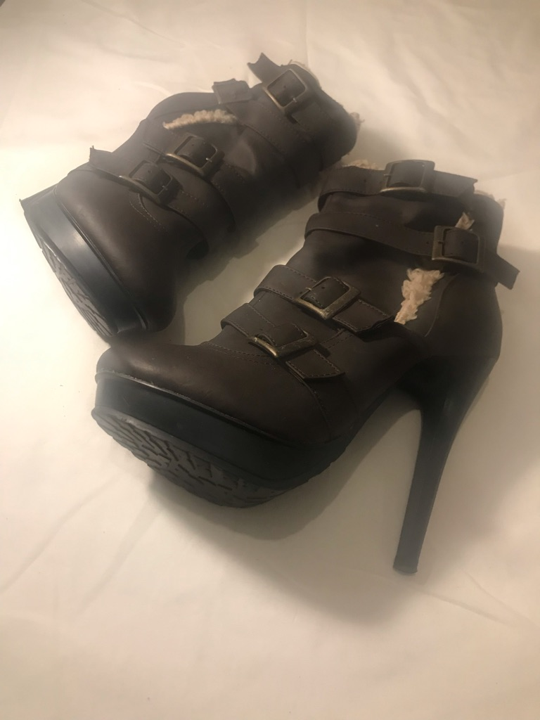 Brown high heel boot size 4 (37)