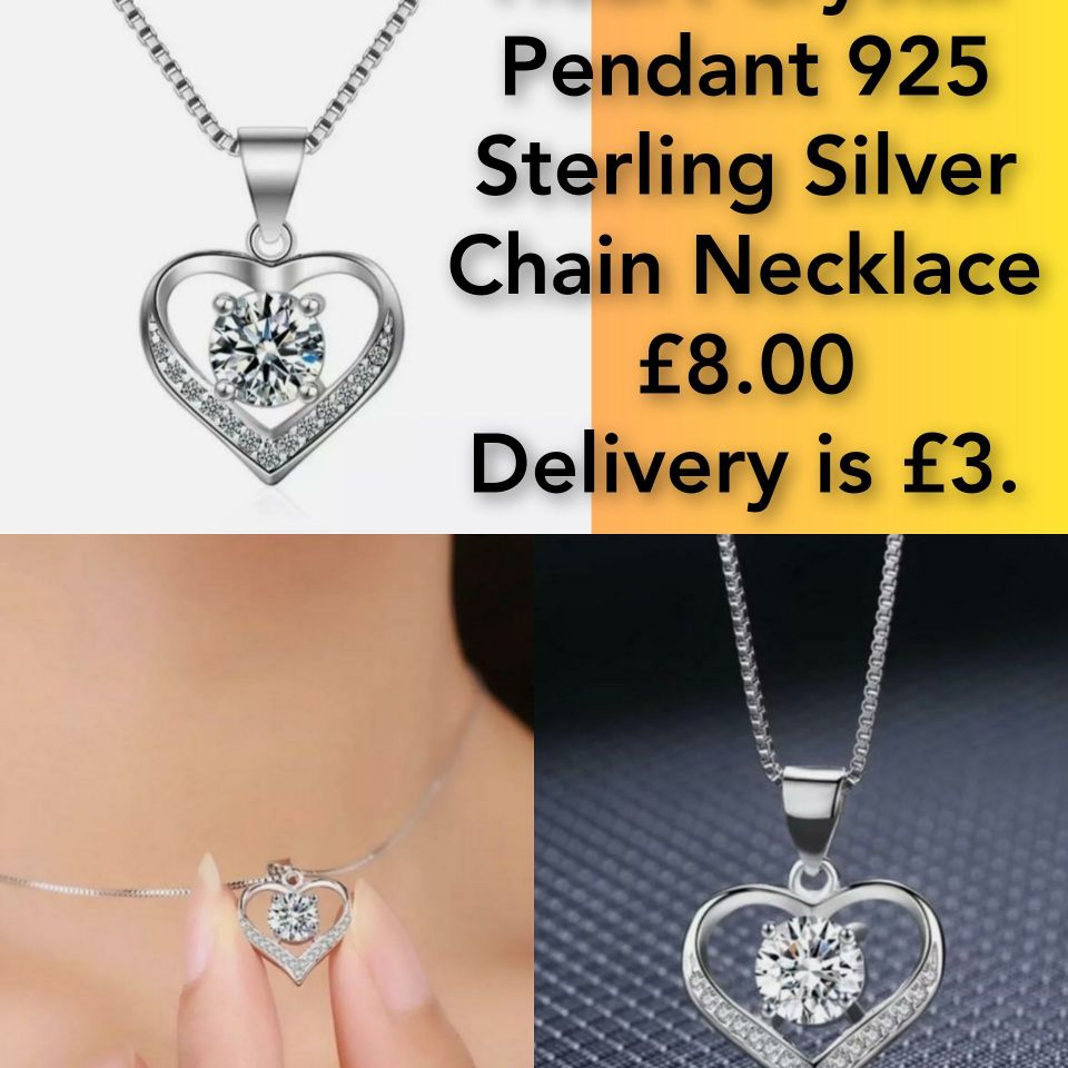 Heart Crystal Pendant 925 Sterling Silver Chain Necklace📿