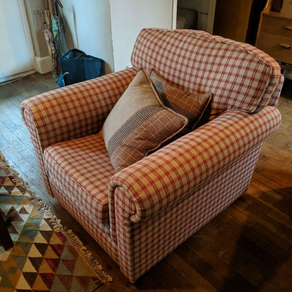 Laura Ashley gingham arm chair