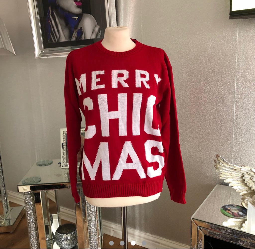 Women's red white Christmas jumper size S/M