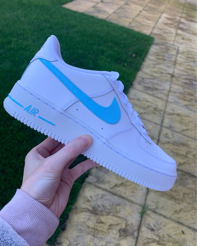 Customised Blue Nike Air Force 1s