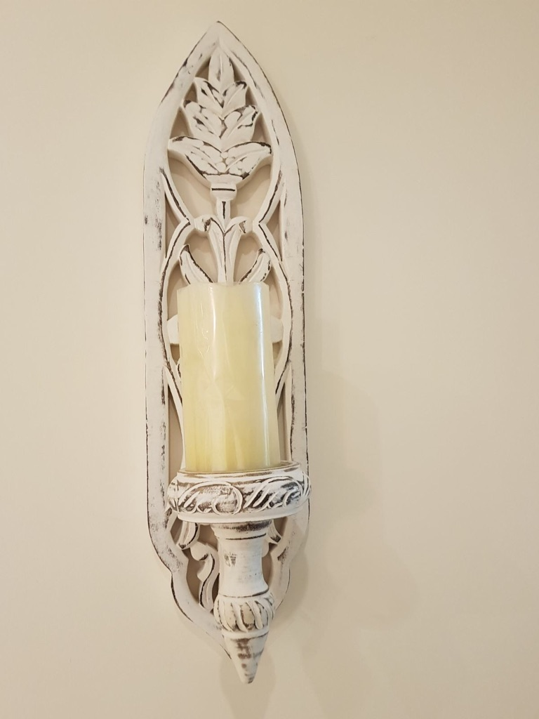 Wall mounted ivory shabby chic battery operated candle holder