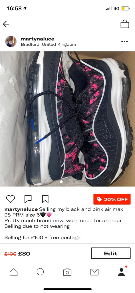 black and pink air max 98 PRM size 6🖤💗