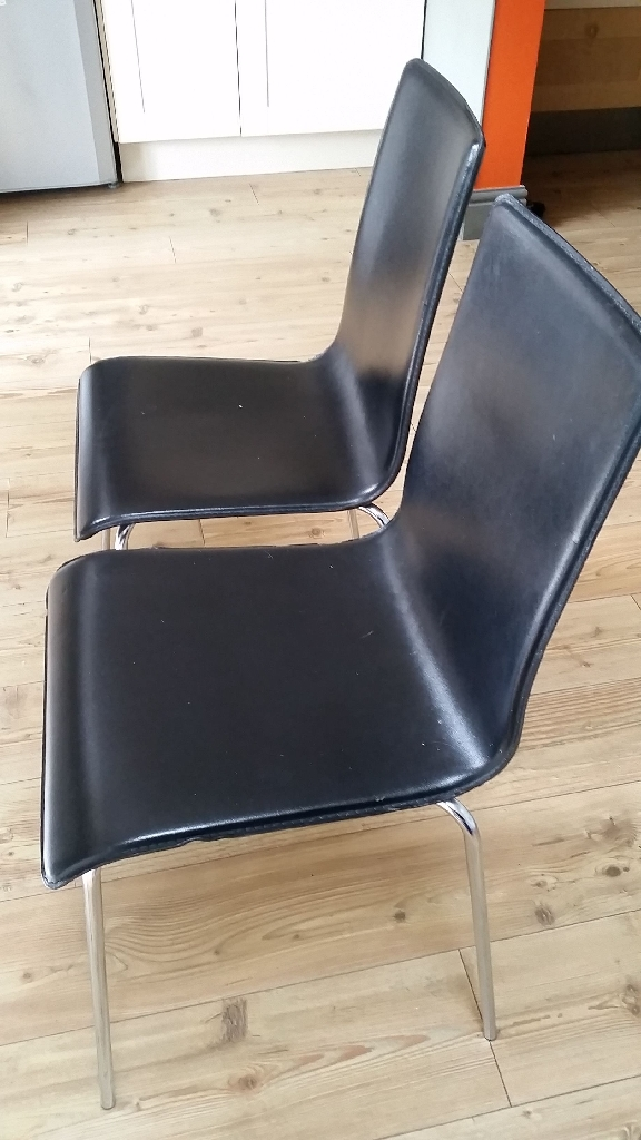 6 black leather dining chairs