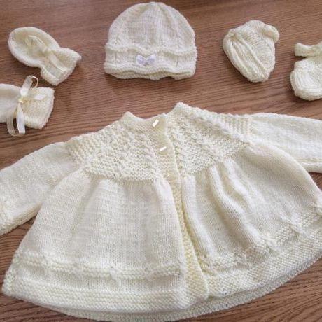 Handmade knitted baby matinee set-pale yellow