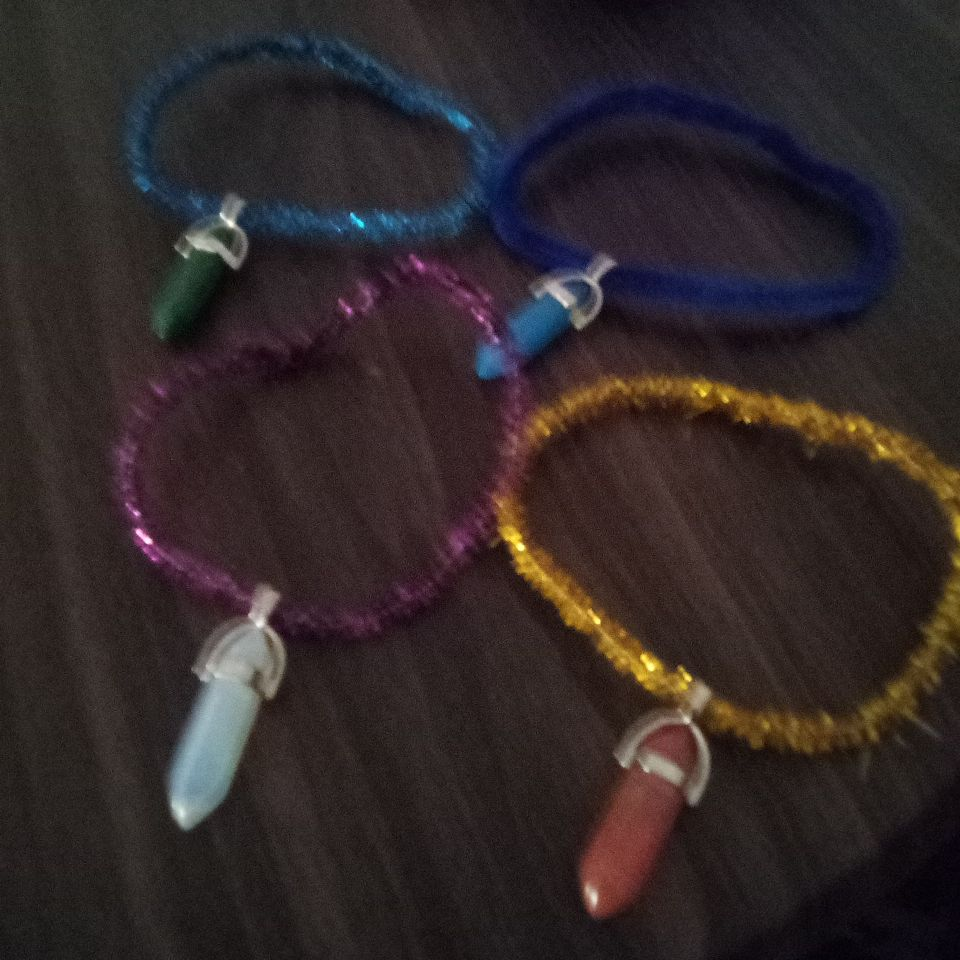 Homemade bracelets out of real crystals