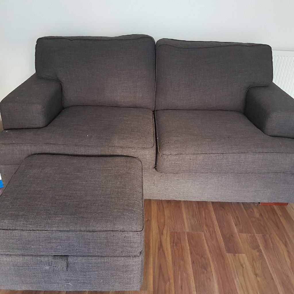 2 seater sofa with footstool