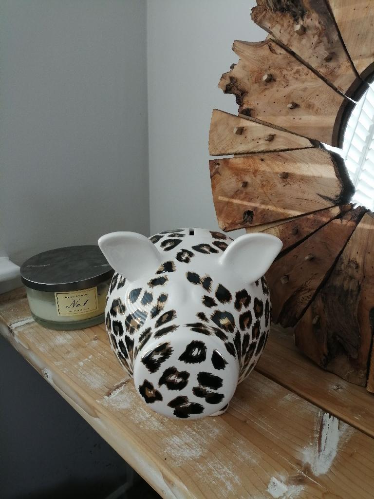 Money box pig Salt and Pepper leopard print