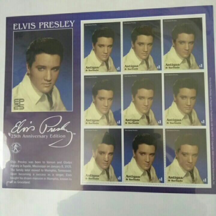 25th Anniversary of Elvis Presley 9 stsmps from Antigua & Barbuda