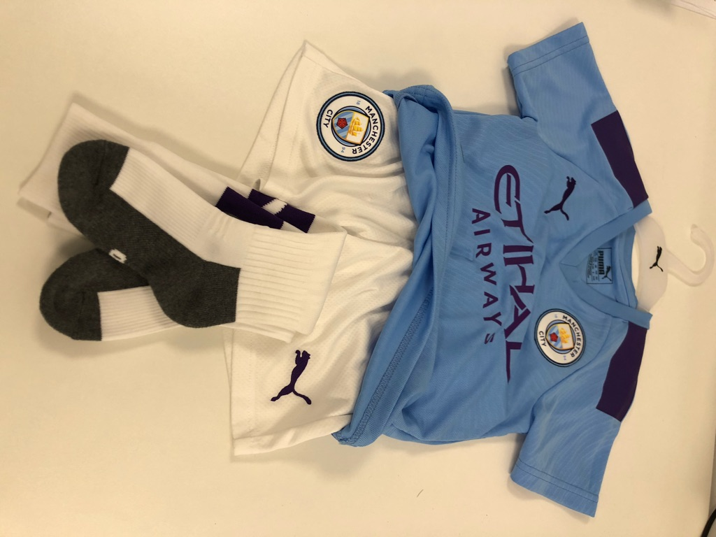 Original Manchester City junior football kit
