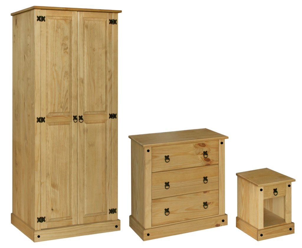3 Piece Bedroom Set- Wardrobe, Chest and Bedside