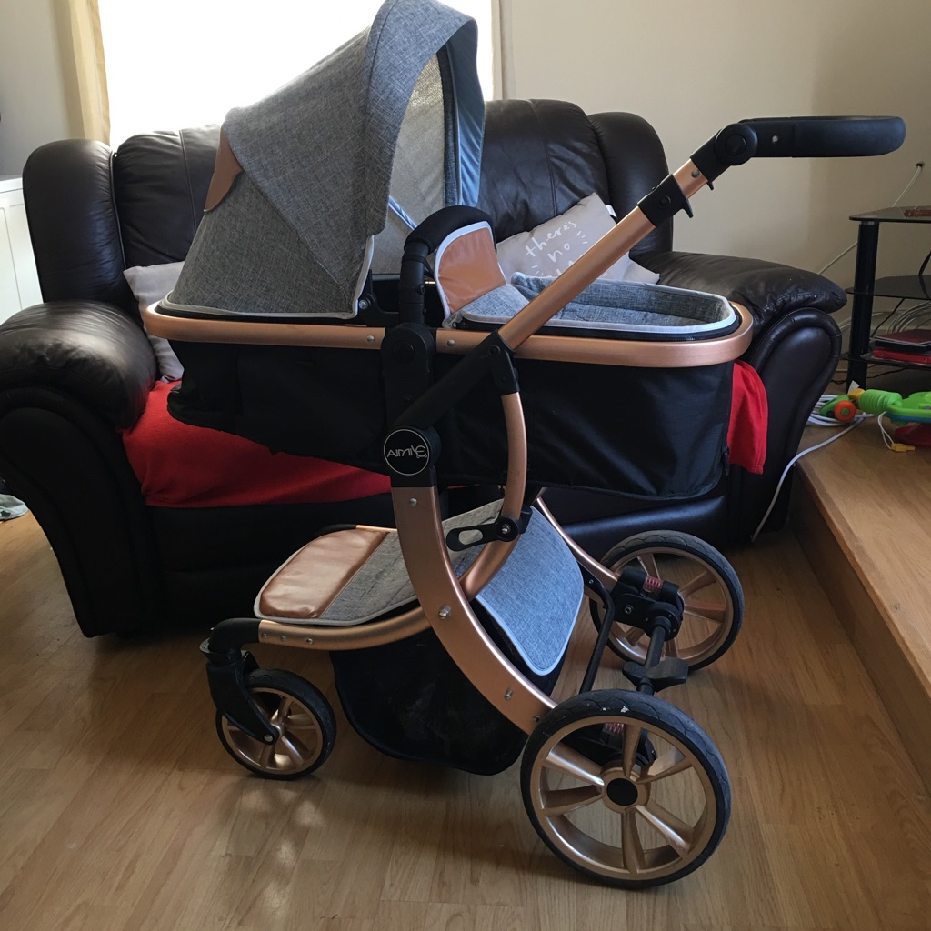 Amie pram gold brown and grey