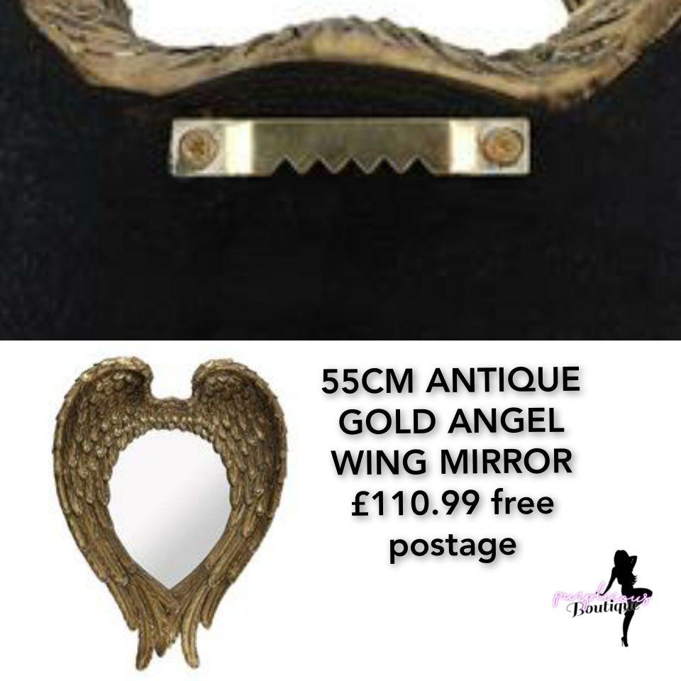 55CM ANTIQUE GOLD ANGEL WING MIRROR
