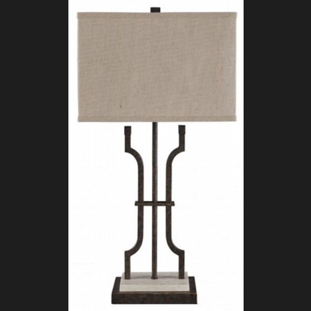 Ashley Furniture Textured Brown Finished Metal and Marble Table Lamp