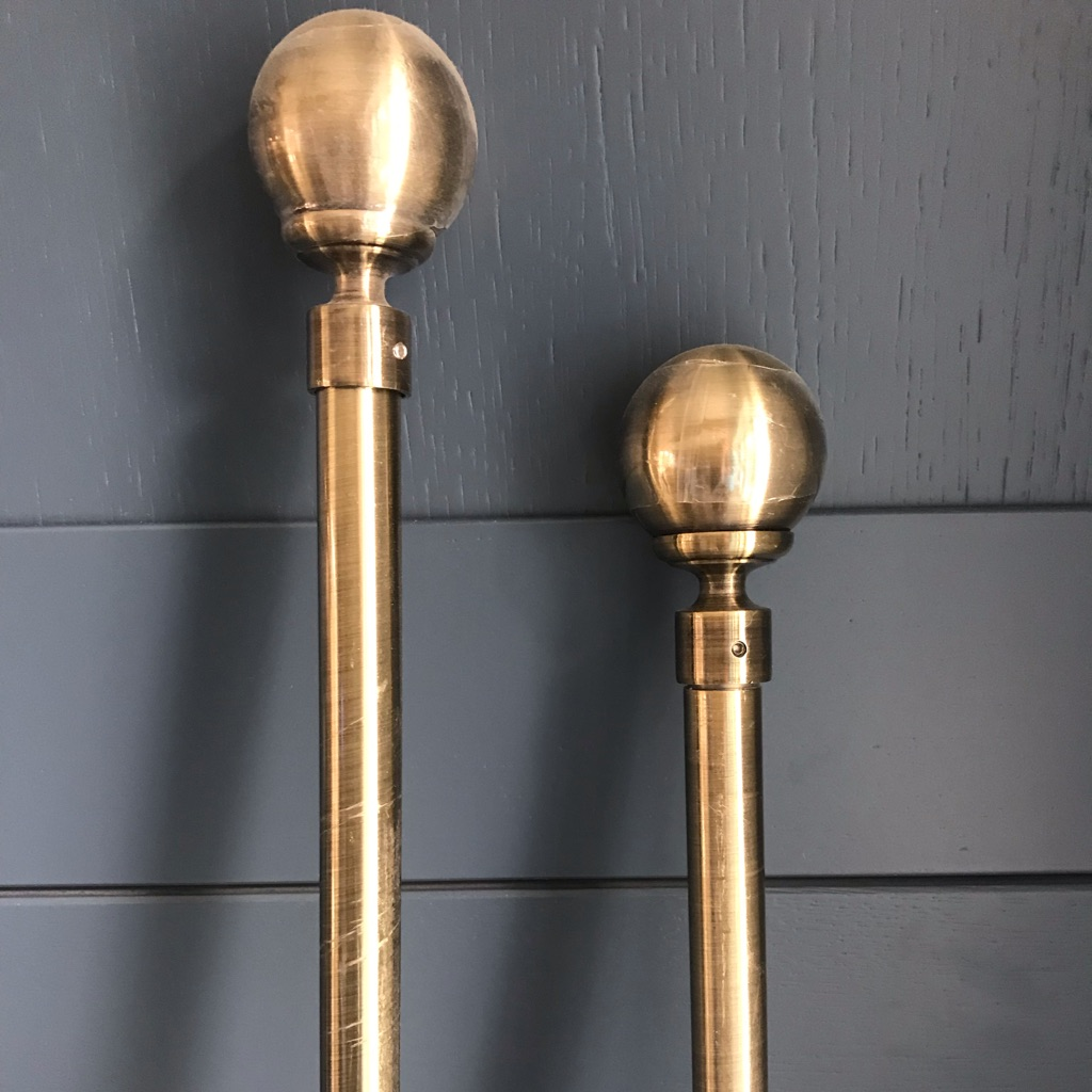 2x Antique Brass Curtain Poles