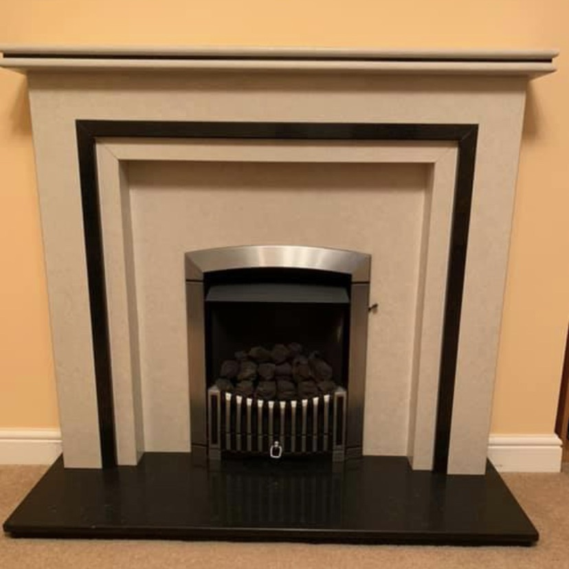 Solid Marble Fireplace & Gas Fire