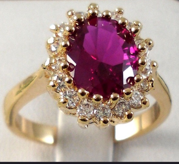 18k yellow gold filled ruby zircon ring
