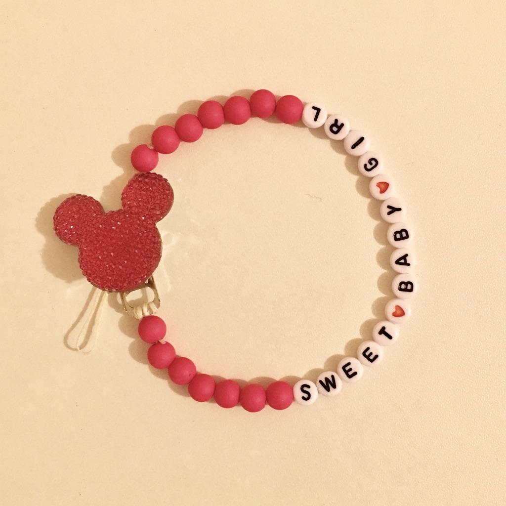 Dark Pink Minnie Mouse Dummy chain