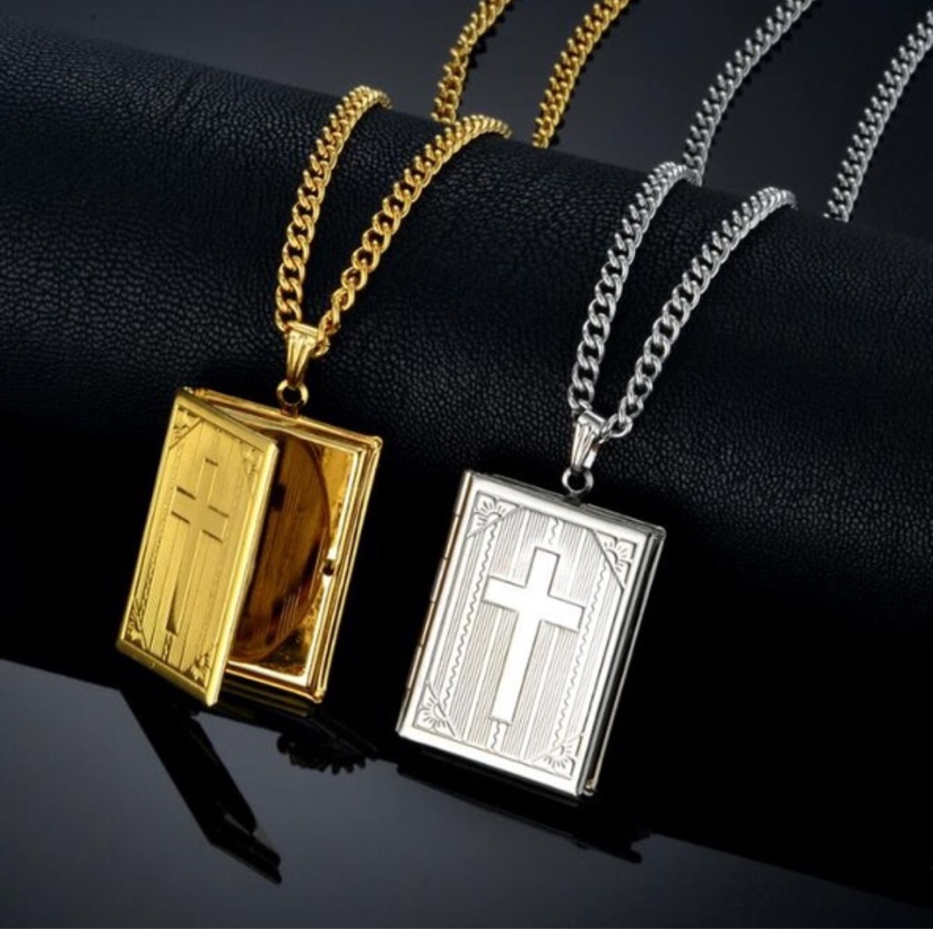 18k gold plated bible book necklace