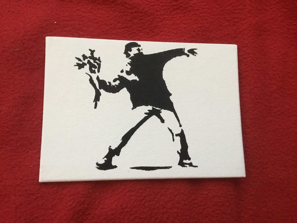 Banksy style art boarded canvas painting 7in 5in