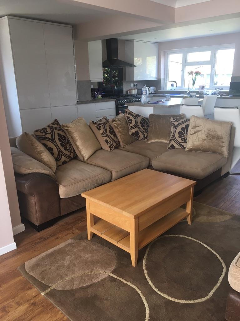 DFS corner sofa, 2 seater sofa & Pouffe
