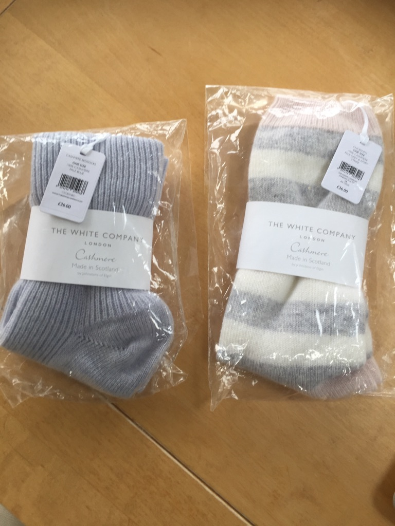 Two new pairs of White Company cashmere bed socks