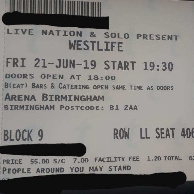 Westlife ticket 21st June