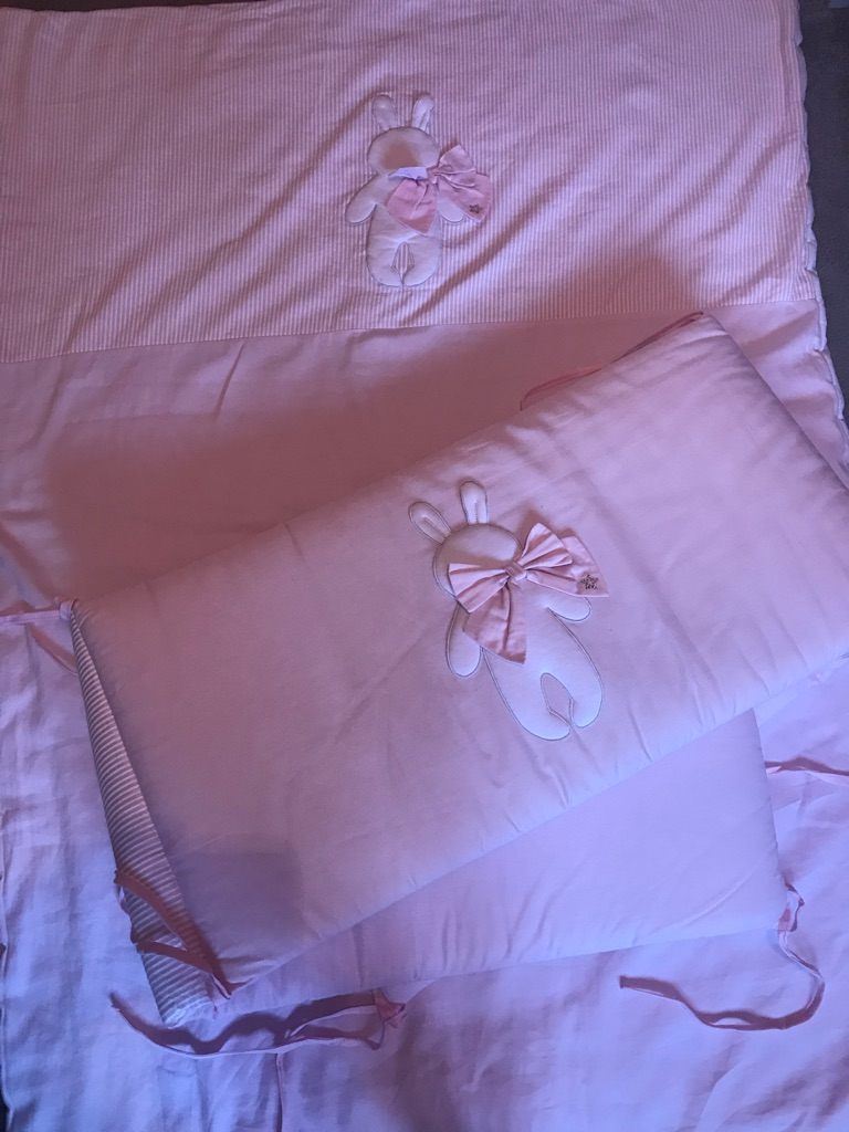 Cot bedding and bumper with matching light shade