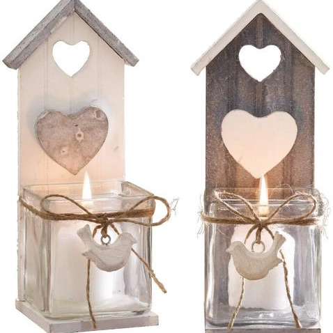 Candle holder with bird design set of 2