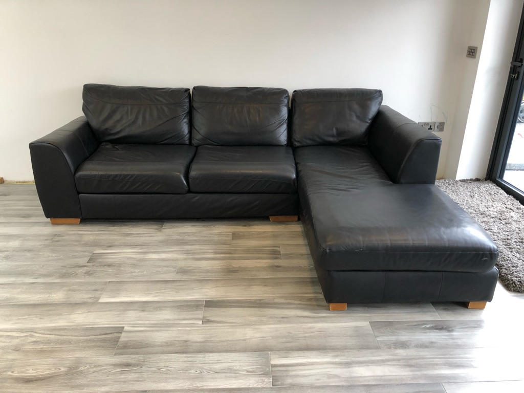 Fabulous Large Black Leather 4 Seater Sofa for Sale