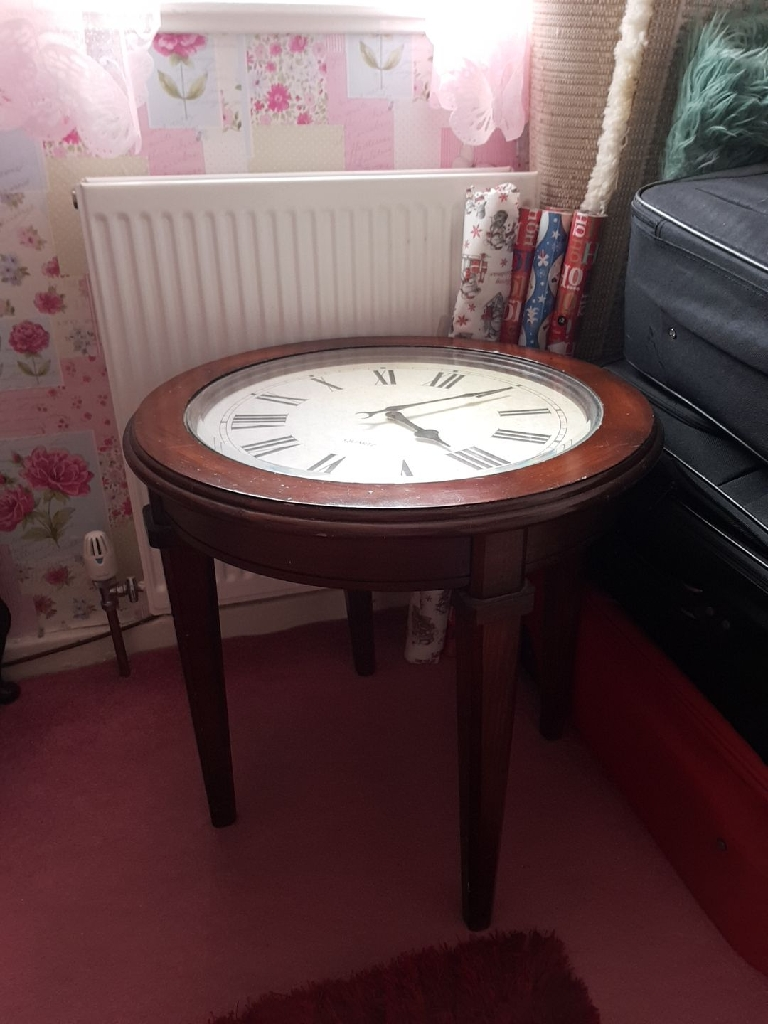 - Vintage Small Coffee Table With Clock Face Top Village