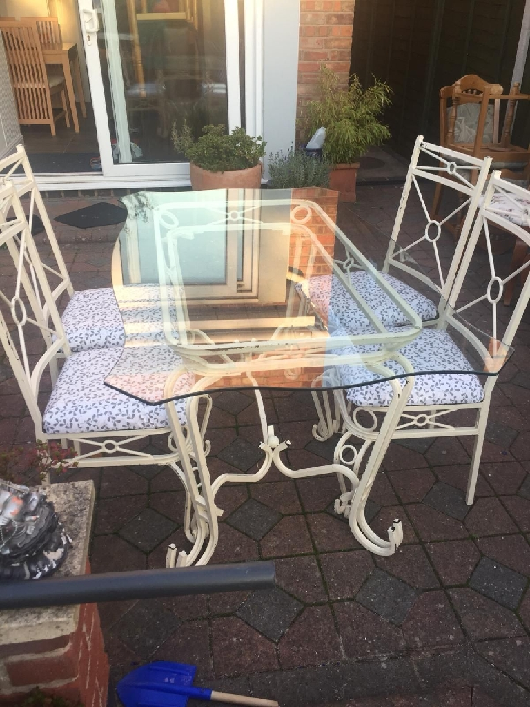 Shabby chic wrought iron dining table and 4 chairs
