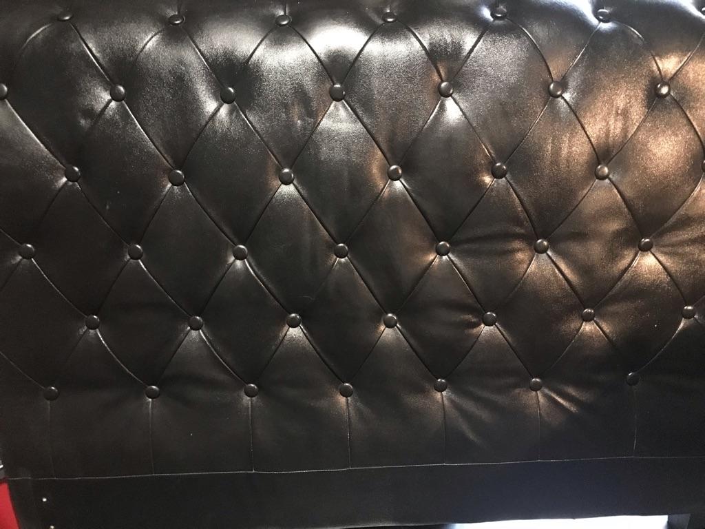 King size black leather headboard
