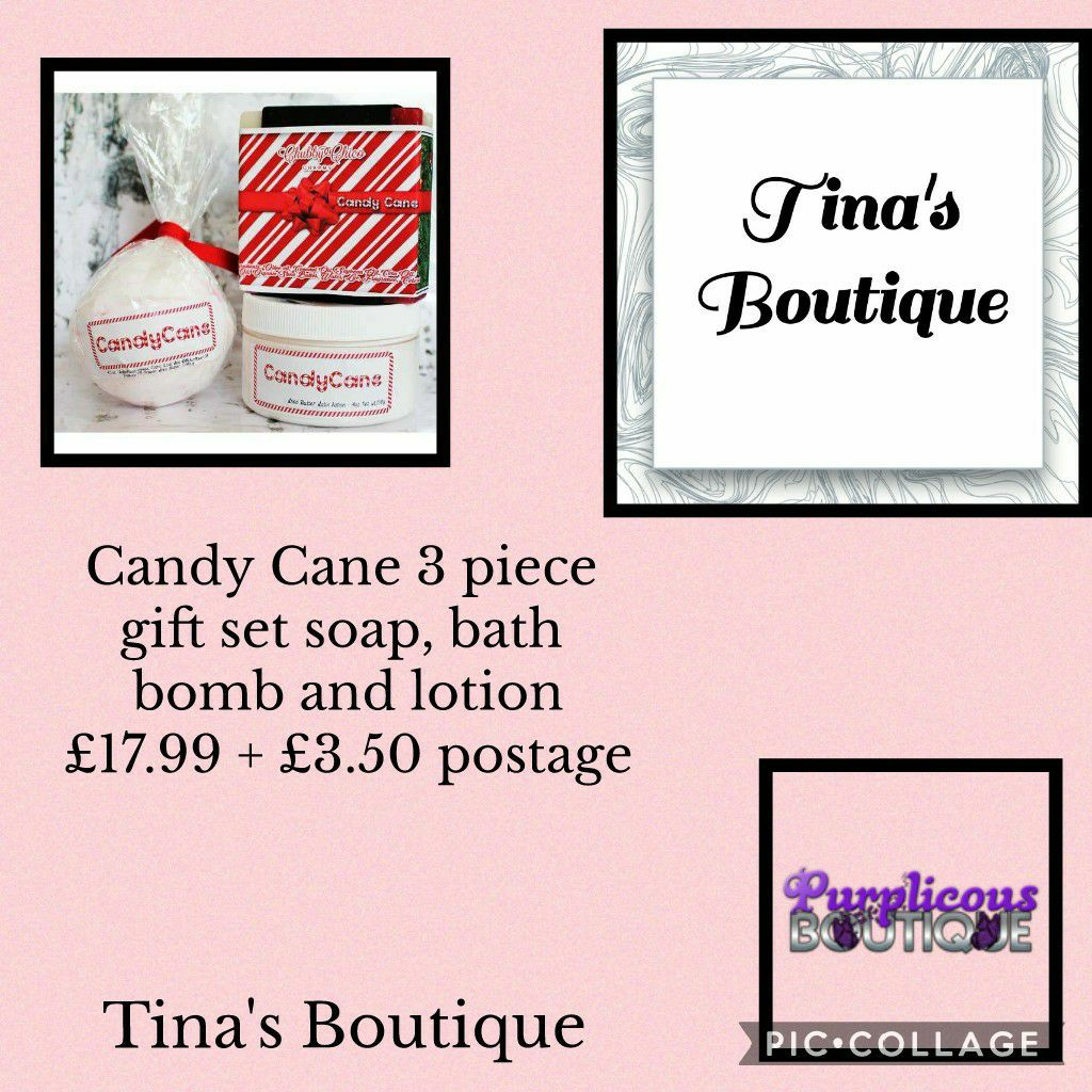 Candy Cane 3 piece gift set soap, bath bomb and lotion🛀