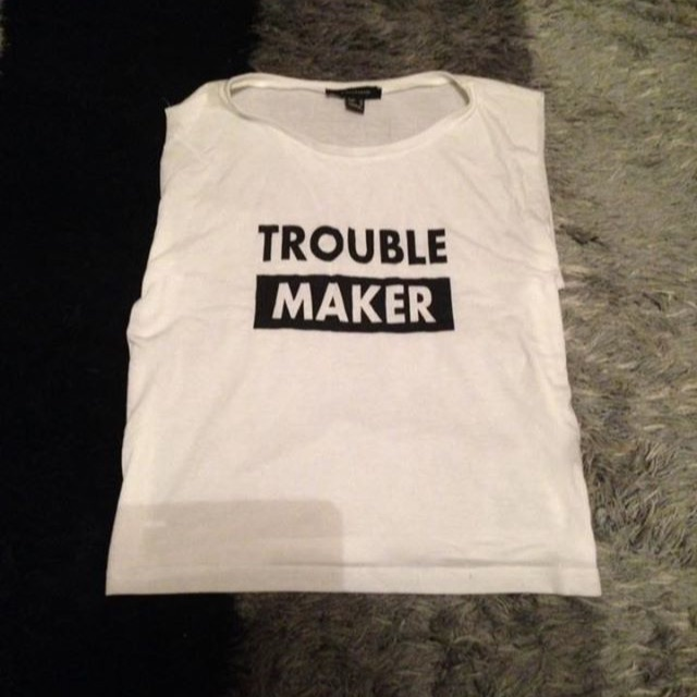 White Trouble Maker Crop Top, Size 12, Never Been Worn