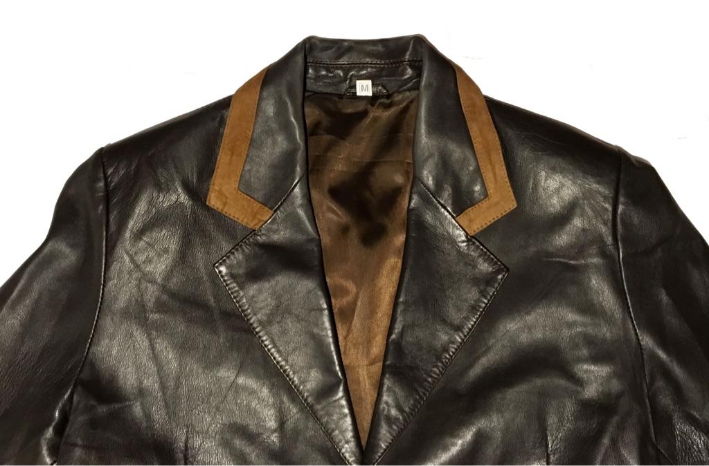 Classic Tailored Leather Blazer Jacket