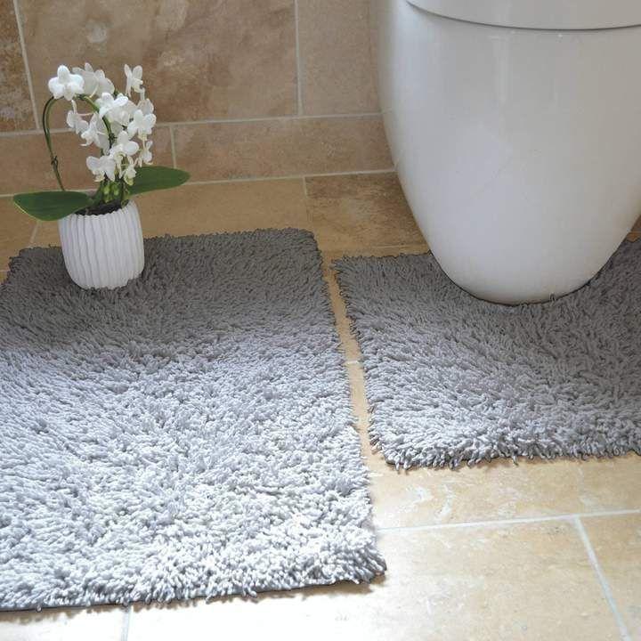 Tumble Twist Grey 100% Cotton 2 Piece Pedestal & Bath Mat Set