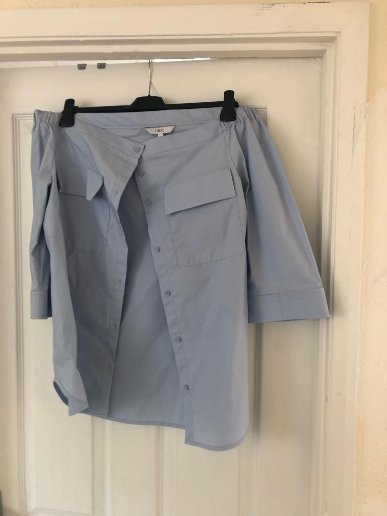 Next Bardot pale blue blouse £12