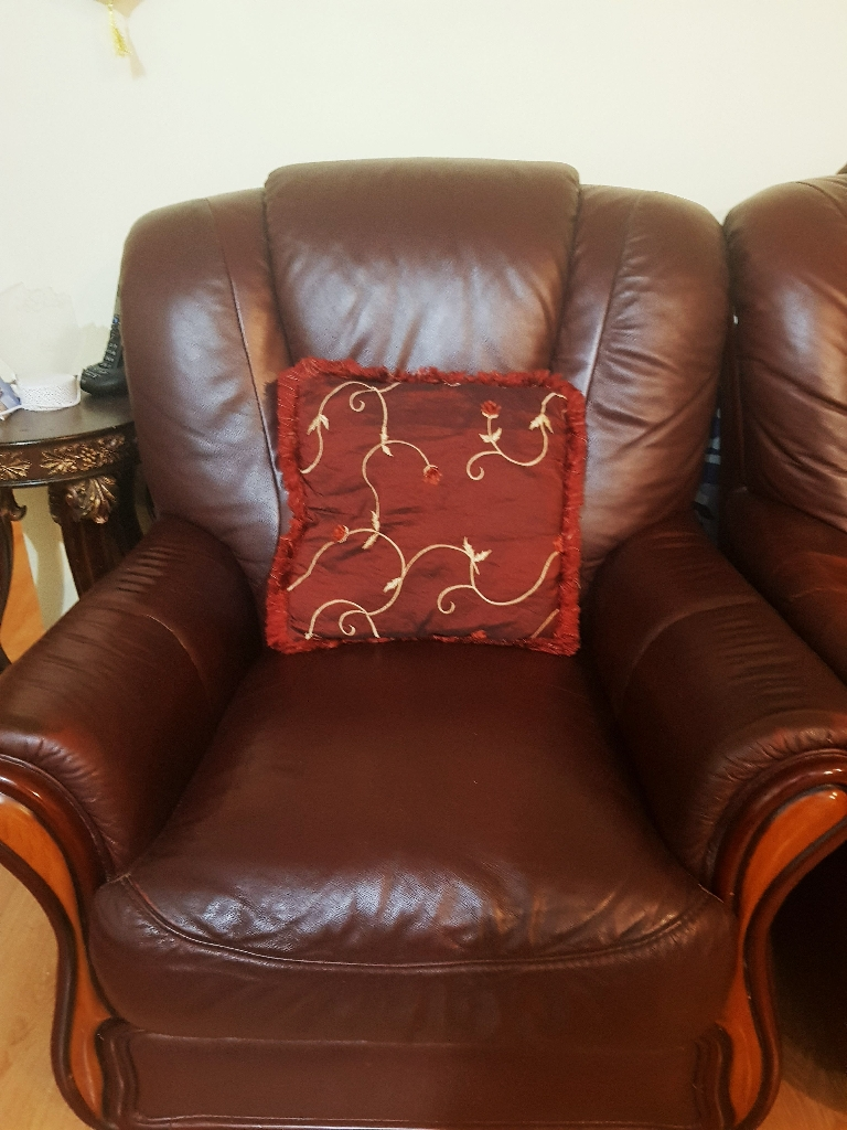 Burgundy Leather sofas