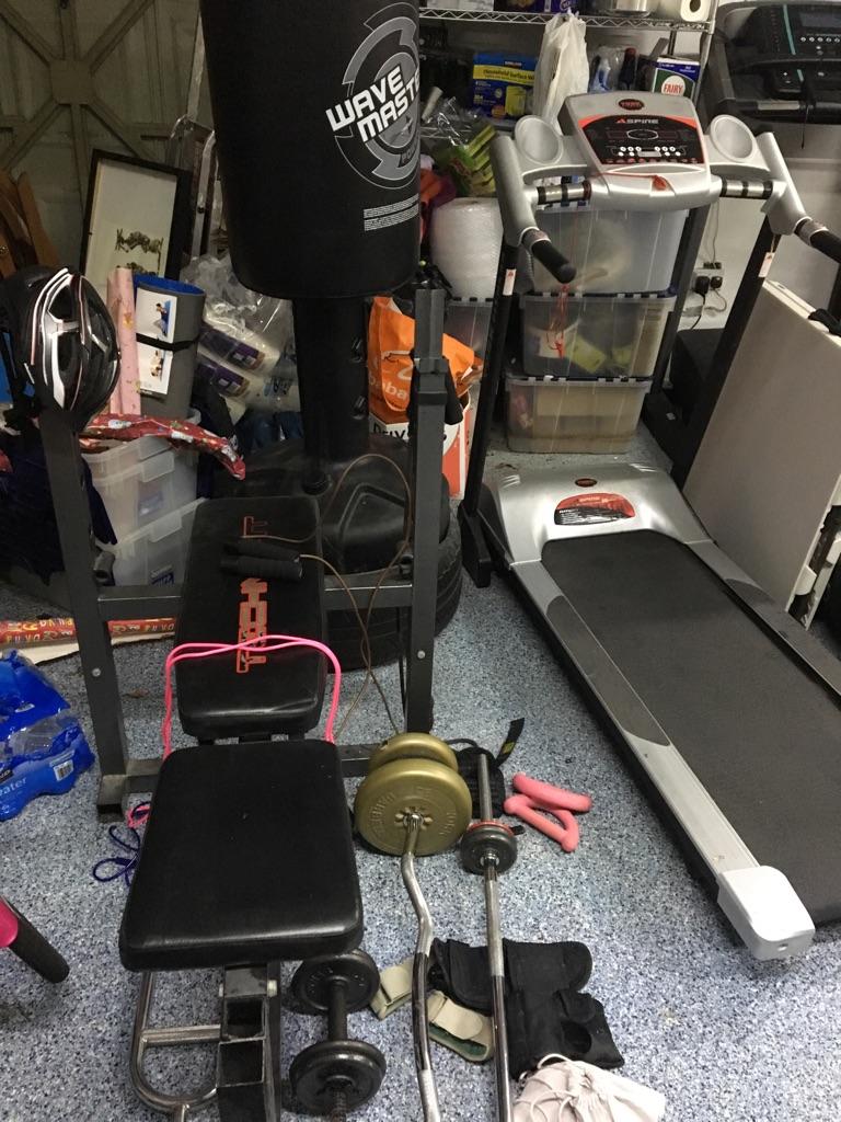 Martial art punch bag, treadmill & weight lifting bench