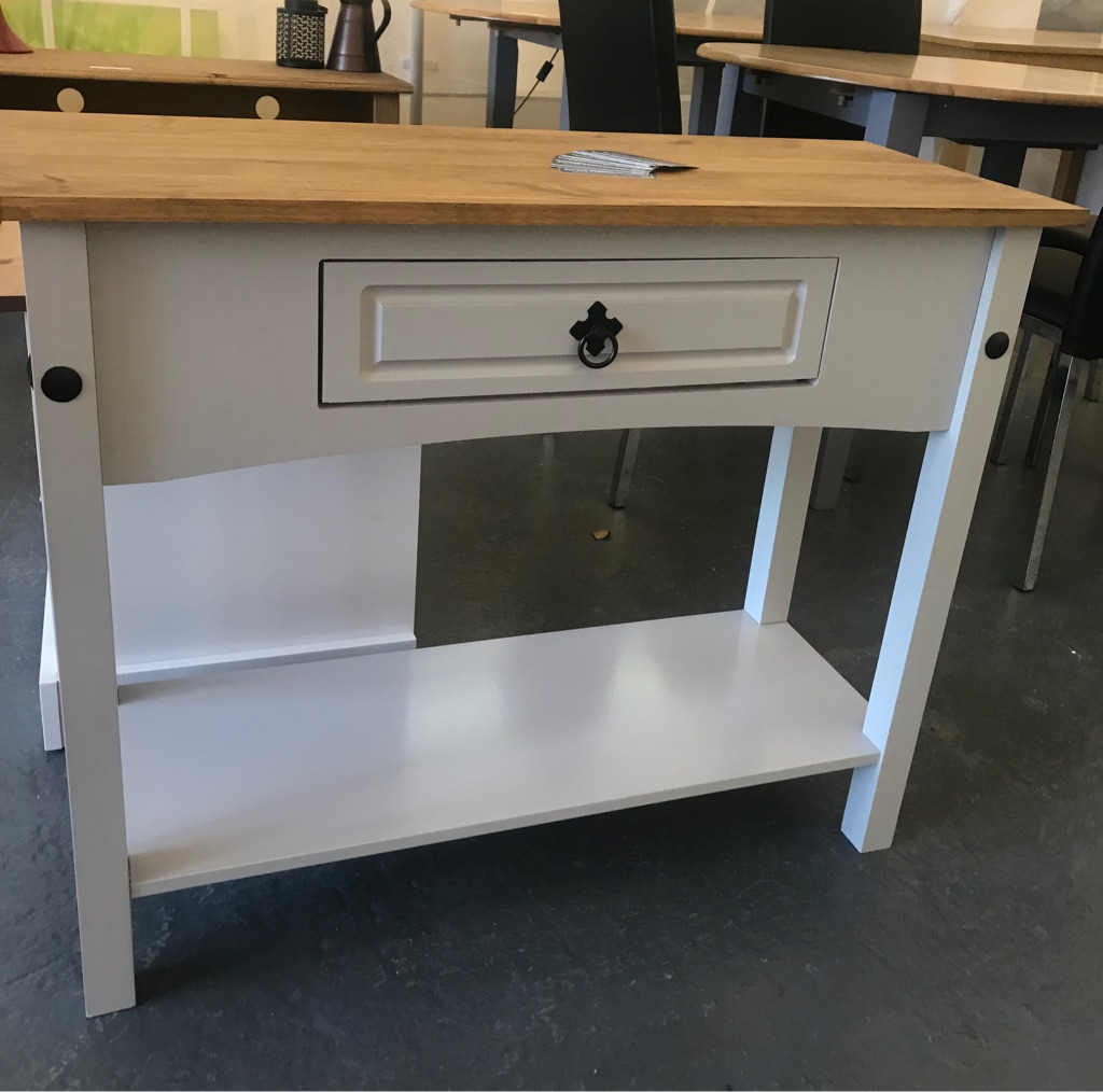 New Grey Console Table with Shelf