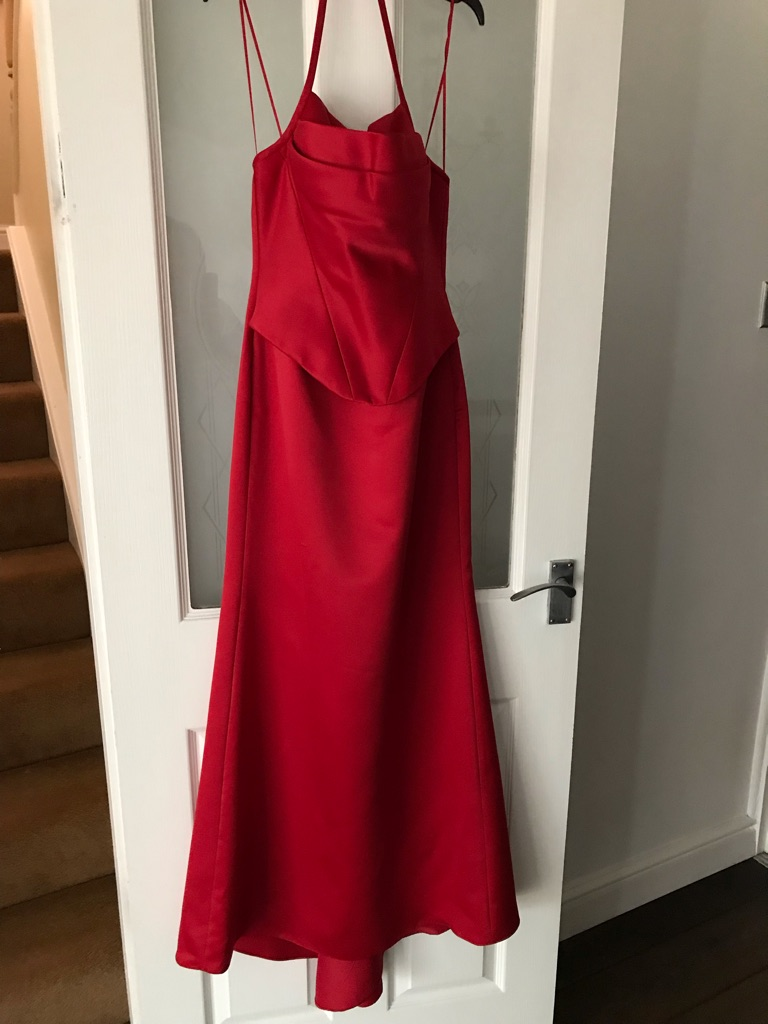 Red silk ball gown/prom dress Size 10