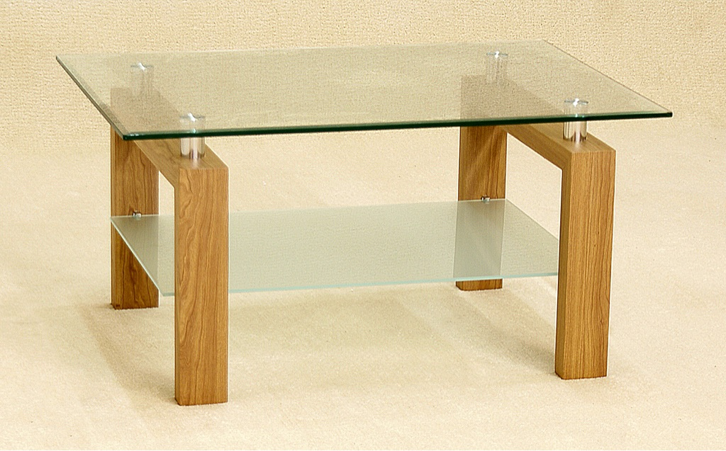 Clear Glass Coffee Table with Frosted Shelf