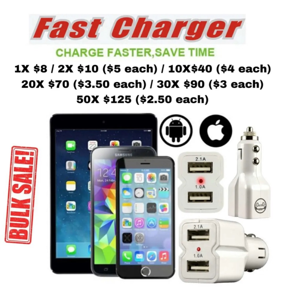 BULK SALE: CoverBot DUAL USB 3.1A 15w High Output Car Charger WHITE or BLACK with Heavy Duty Socket Connector (NEW)