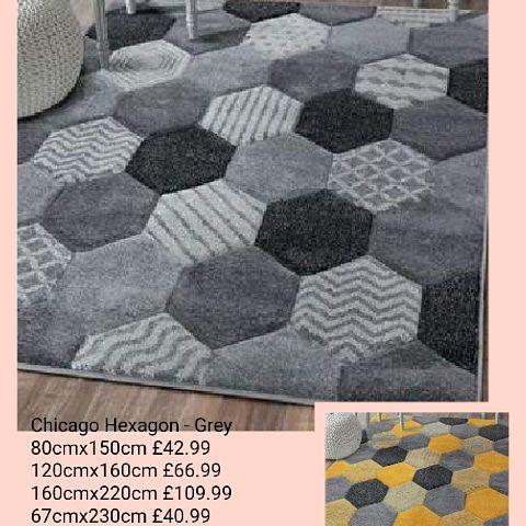 💥Chicago Hexagon Rug. - Grey  💥Also available in Ochre yellow. 💥80cmx150cm £42.99 💥120cmx160cm £66.99 160cmx220cm £109.99 67cmx230cm £49.99. 🚚Free delivery.🚚